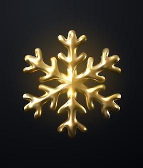 Boule de noël de flocon de neige doré scintillant