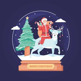 Boule de noël avec fond illustration santa design plat
