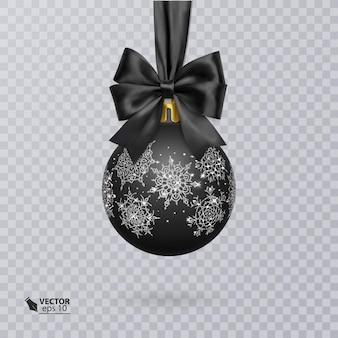 Boule de noël noire décorée d'un nœud noir réaliste et d'un ornement argenté brillant