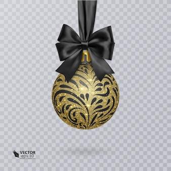 Boule de noël noire décorée d'un nœud noir réaliste et d'un ornement doré brillant