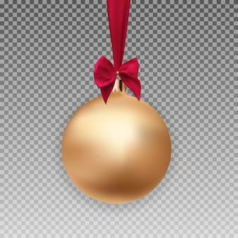 Boule de noël or avec boule et ruban sur fond transparent vector illustration eps10