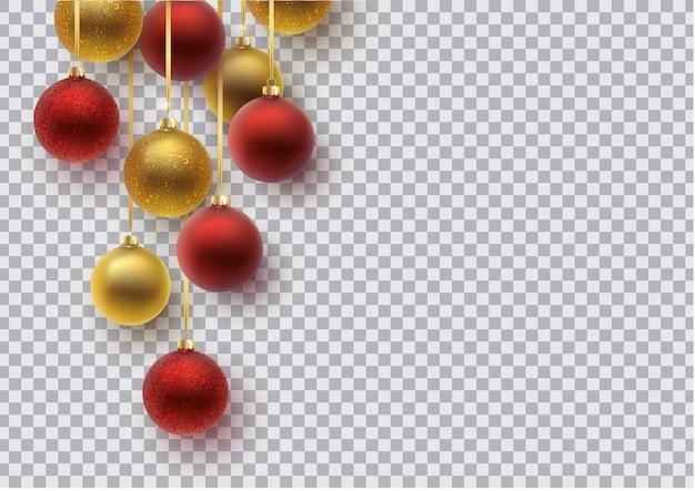 Boule de noël or et rouge, avec un ornement et des paillettes