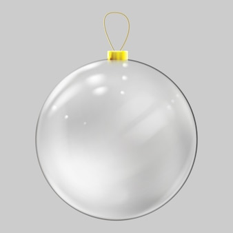 Boule de noël en verre réaliste. décoration de boule de noël transparente.
