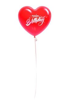 Boule rouge en forme de coeur avec l'inscription happy birthday