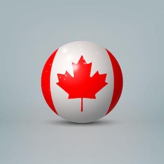 Boule ou sphère en plastique brillant réaliste 3d avec le drapeau du canada