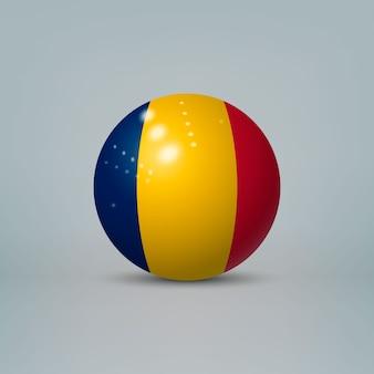 Boule ou sphère en plastique brillant réaliste 3d avec le drapeau du tchad