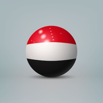 Boule ou sphère en plastique brillant réaliste 3d avec le drapeau du yémen