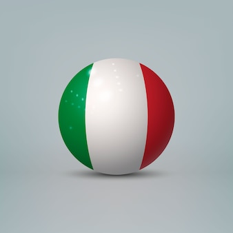 Boule ou sphère en plastique brillant réaliste 3d avec le drapeau de l'italie