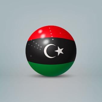 Boule ou sphère en plastique brillant réaliste 3d avec le drapeau de la libye