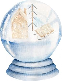 Boule de verre aquarelle enneigée