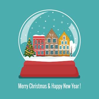 Boule de verre de neige de noël avec de jolies maisons européennes et un arbre de noël. plat