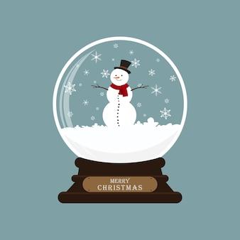 Boule de verre de noël avec bonhomme de neige. illustration vectorielle.