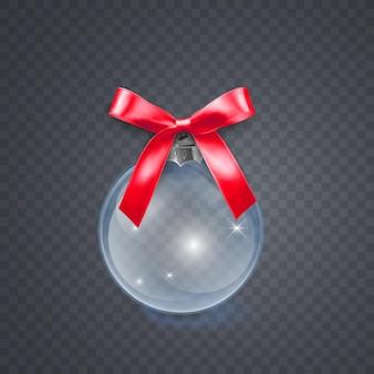 Boule de verre de noël avec noeud rouge sur transparent