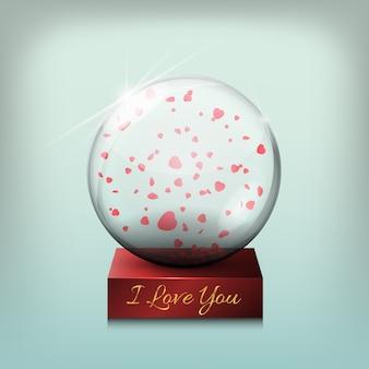 Boule en verre transparent, un cadeau pour la saint valentin