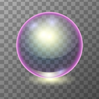 Boule de verre transparente multicolore réaliste, sphère brillante ou bulle