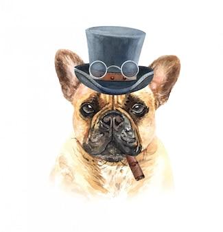 Bouledogue français aquarelle avec lunettes cigare et chapeau haut de forme.