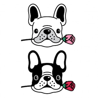Bouledogue français chien vecteur rose caricature de chiot fleur