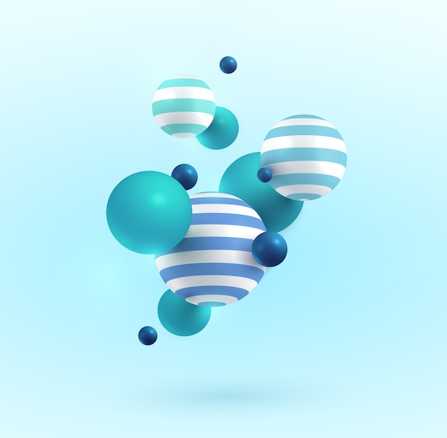 Boules 3d bleues, vertes et blanches. .