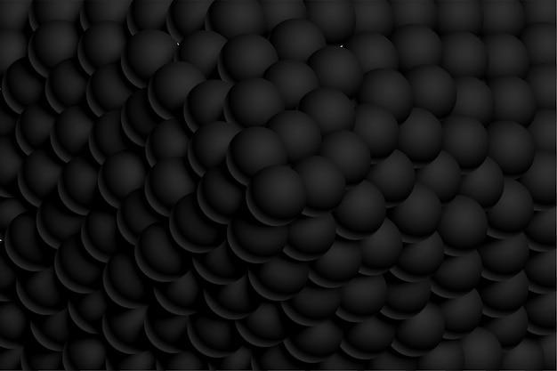 Boules 3d sombres noires réalistes empilées ensemble