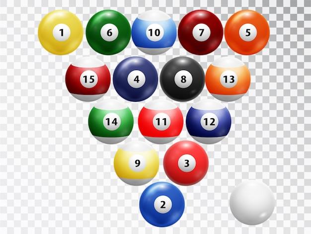 Boules de billard isolés. collection de boules brillantes et brillantes.
