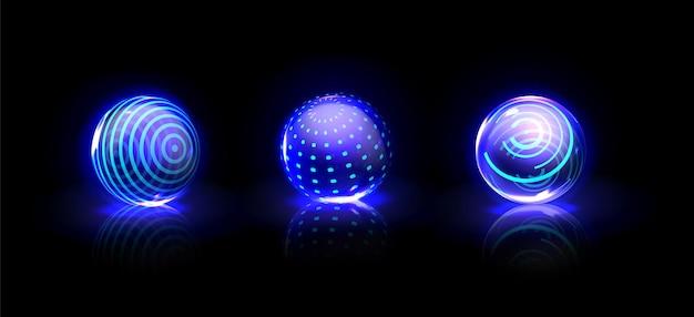 Boules bleues éclatantes d'énergie