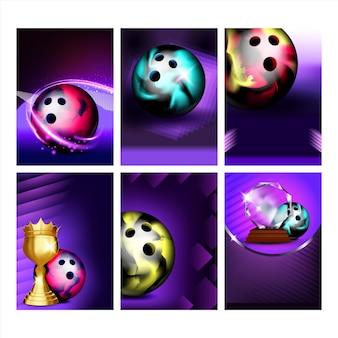 Boules de bowling et affiches candlepin set vector. outil sphérique de bowling et équipement de bowler d'épingles de canard pour le jeu de club de plaisir de jeu, collection de bannières différentes. illustrations de concept sportif