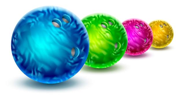 Boules de bowling isolés avec texture marbre de couleur.