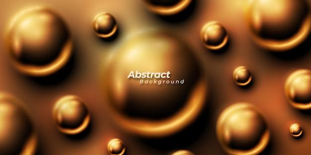 Boules ou bulles chatoyantes abstraites dorées.