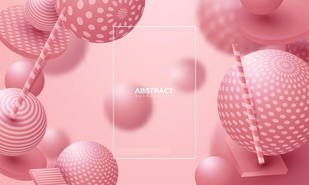 Boules colorées abstraites. les bonbons roses volent en apesanteur. sphères de confettis de dispersion chaotique. fond d'écran de fête.