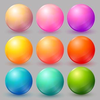 Boules colorées de vecteur sertie de fusées éclairantes et d'ombres pour les icônes de badges eps10