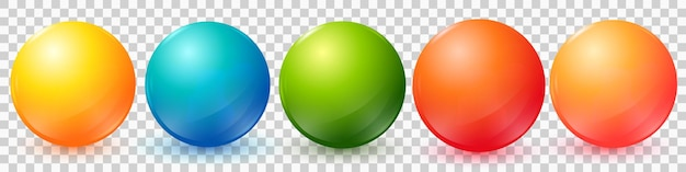 Boules colorées de vecteur sertie de fusées éclairantes et d'ombres pour les icônes d'insigne isolés sur fond blanc eps10