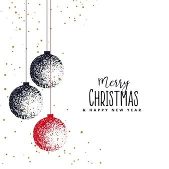 Boules de Noël faites avec un pointillé sur fond blanc