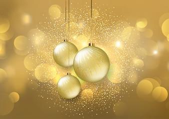 Boules de Noël sur fond de lumières dorées bokeh