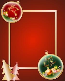 Boules et décorations brillantes de noël or sur cadre doré