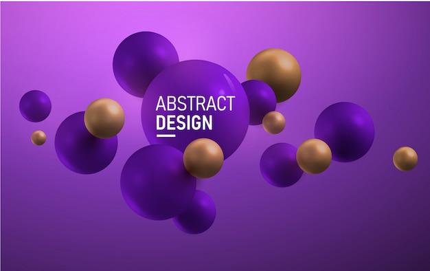 Boules horizontales violettes et dorées. abstrait.