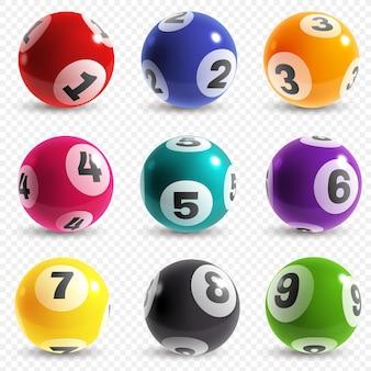 Boules de loterie. boules de jeu de loto avec des nombres, gain de jackpot instantané chanceux de bingo. pari de loisirs sur internet de loterie, ensemble isolé réaliste