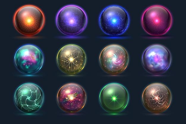 Boules magiques. orbes mystérieuses d'énergie, sphère paranormale de prédiction de verre de cristal magique