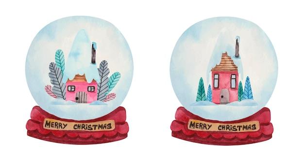 Boules de neige de noël aquarelle avec des maisons roses à l'intérieur
