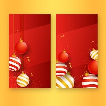 Boules de noël 3d avec des confettis dorés décorés sur fond rouge en deux options.