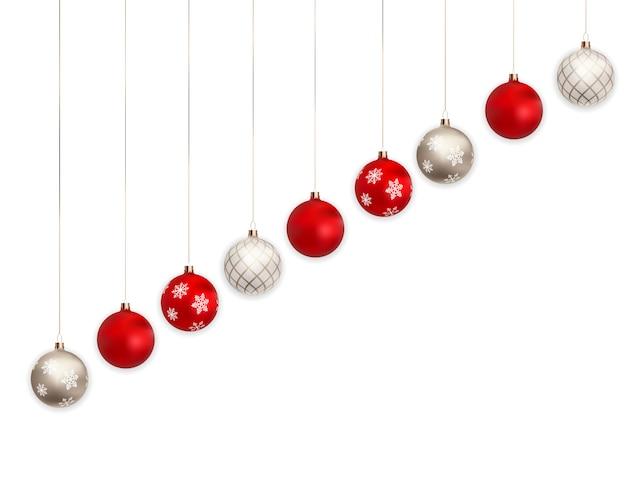 Boules de noël 3d pour vacances nouvel an sur fond blanc