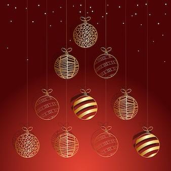 Boules de noël sur des boules d'or rouge pour un arbre de noël de boules de noël fond de noël