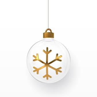 Boules de noël brillantes et brillantes avec flocon de neige doré. boule de verre de noël. modèle de décoration de vacances. illustration vectorielle.