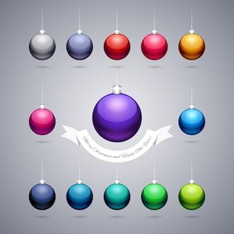 Boules de noël brillantes colorées