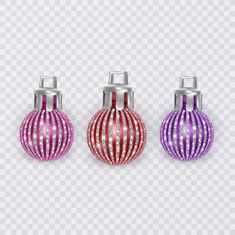 Boules de noël colorées sur fond transparent, décorations de noël de vecteur