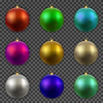 Boules de noël colorées isolées de décorations réalistes.