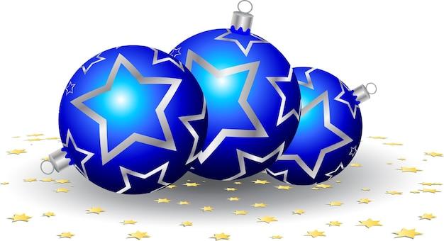 Boules de noël et confettis en forme d'étoile