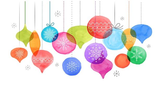 Boules de noël, décoration de noël aquarelle couleurs vibrantes