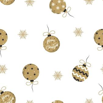 Boules de noël dorées avec des arcs-cadeaux isolés sur blanc. modèle sans couture avec des décorations d'arbre de noël.