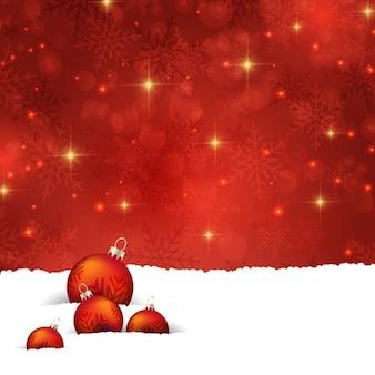 Boules de noël avec des étoiles sur un fond rouge