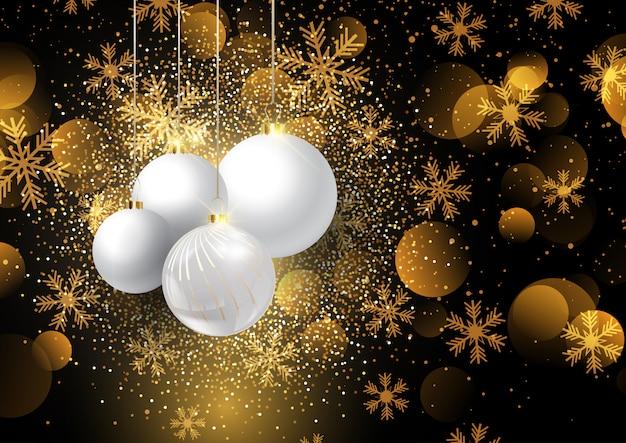 Boules de noël sur fond d'or flocon de neige 0908